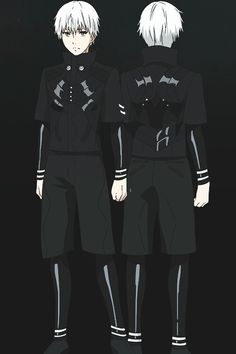 Tokyo Ghoul  Eye Patch Mask, black pants & shorts, black long sleeved shirt & short sleeved shirt, white wig, black boots, black finger nails, grey contacts
