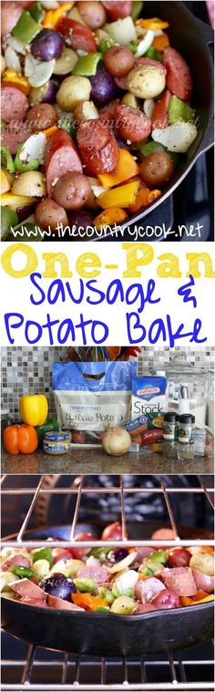 One Pan Little Potato & Sausage Bake recipe from The Country Cook. No boiling the potatoes. Just dice it all up, throw it in the pan with yummy seasonings and pop it in the oven. (Sausage Recipes For Dinner) Sausage Bake Recipe, Sausage Recipes, Pork Recipes, Cooking Recipes, Easy Recipes, Skillet Recipes, Potato Recipes, Delicious Recipes, Crockpot Recipes