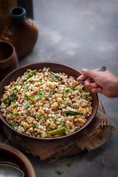Learn here how to make sabudana khichdi recipe step by step. Sabudana ki khichdi is a popular traditional Indian dish made using sago (tapioca) pearls during fast or vrat in Navratri season or as a breakfast or as a snacks in regular days. Sabudana Recipes, Sago Recipes, Sabudana Khichadi Recipe, Indian Food Recipes, Vegetarian Recipes, Healthy Recipes, Snacks Recipes, Recipes Dinner, Healthy Indian Snacks