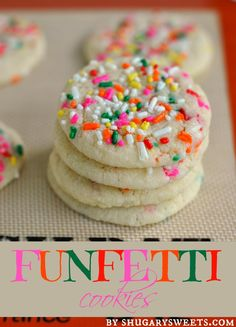 Funfetti Cookies: from scratch, soft and chewy sugar cookies filled with sprinkles! #funfetti