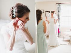 Elegant, loose and low hairstyle by Norma. The bride's own choice of crystal embellished comb fit the style perfectly!  Photo by Anna Marie Akins Photography