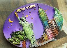 New York Souvenir Fridge Magnet London Souvenirs, Travel Souvenirs, Seattle, 3d Printed Jewelry, Refrigerator Magnets, E Bay, Love, Craft Gifts, New York City