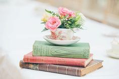 Tea Cup Flowers Books Relaxed Happy Classic Pink Afternoon Tea Wedding http://www.firsthandphotography.co.uk/