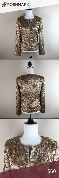 """Joseph Ribkoff Shiny Gold Jacket Absolutely amazing piece by Joseph Ribkoff. Exactly what you need to top off your holiday party attire! In gently used condition. Shiny gold jacket with shoulder pads. Has textured detailing all over.97% polyester, 3% spandex.   Measurements laying flat-- -Armpit to armpit: 19"""" -Length, shoulder to hem: 23"""" Joseph Ribkoff Jackets & Coats"""