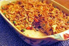 Grandma Betty's Crunchy Chicken Casserole - an old-fashioned recipe with chicken and egg noodles