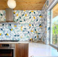 Handmade Ceramic Kitchen Tile Projects by Mercury Mosaics Decor, Small American Kitchens, Kitchen Tile, Modern Kitchen, Colorful Backsplash, Colorful Kitchen Backsplash, Mid Century Modern Kitchen, Mercury Mosaics, Ceramic Kitchen Tiles