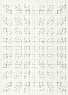 Perspective blocks on grid paper Graph Paper Drawings, Graph Paper Art, 3d Drawings, Perspective Drawing Lessons, Perspective Art, Drawing Techniques, Drawing Tips, Drawing Grid, Basic Drawing