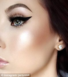 Mix and match: Jaclyn (above) combines highlighters and applies them on the apples of her cheeks as well as on the cheek bones