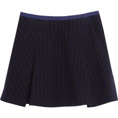 Sacai Sacai Luck pinstriped wool-blend mini skirt (345 CAD) ❤ liked on Polyvore featuring skirts, mini skirts, navy, navy blue mini skirt, wool blend skirt, navy blue skirt, short skirts and blue skirt