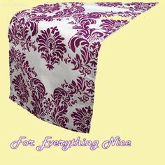 Eggplant White Damask Flocking Taffeta Wedding Table Runners Decorations x 5 For Hire by JRMB7339 - $30.00