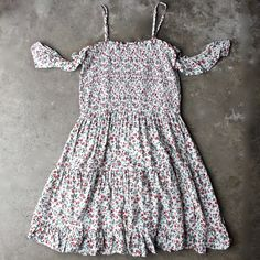 off the shoulder tiered floral print smocked dress - shophearts - 1