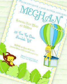 hot air balloon baby shower invitations | Jungle Baby Shower Invitation - Jungle Balloon Collection - Gwynn ...