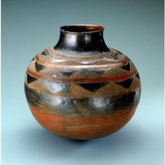 Shona peoples  Jar Date: Mid 20th century Medium: Ceramic, slip, resin Dimensions: H x W x D: 22.9 x 24.7 x 24.5 cm  | National Museum of African Art