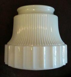 """Vintage Art deco Custard Glass Ceiling Fixture Light Shade Flowers 4"""" Fitter #ArtDeco"""