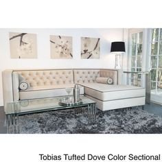 Decenni Custom Furniture 'Tobias' Light Dove Grey Tufted Sectional Sofa | Overstock™ Shopping - The Best Prices on Sofas & Loveseats