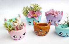 PRE-ORDER 2 Tiny Kitty Planters van ponyponypeoplepeople op Etsy