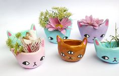 PRE-ORDER Tiny Kitty Planter by ponyponypeoplepeople on Etsy