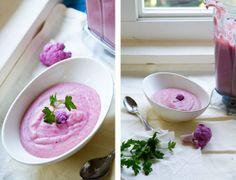 Pink Cauliflower Soup for Valentine's Day