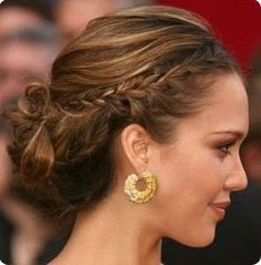 Updo Hair Styles - The Jessica Alba Braided Updo Loose Bun Hairstyles, Night Hairstyles, 5 Minute Hairstyles, Braided Hairstyles For Wedding, Teen Hairstyles, Braided Updo, Celebrity Hairstyles, Pretty Hairstyles, Hair Updo