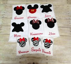 Group shirts! Custom made Embroidery applique  Mickey Mouse or Minnie Mouse tshirt NB - 5XL via Etsy