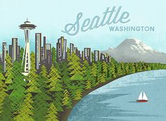 Seattle Sound Print on Etsy, $15.00 That would be a sweet waterfront...