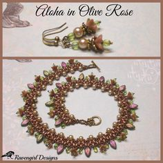 """ALOHA 18"""" Beaded Czech Glass Blossoms & Leaves Necklace & Earrings by RAVENGIRL DESIGNS on Facebook https://www.Facebook.com/RavengirlDesigns"""