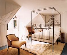 french wrought-iron bed, circa early 19th century, delicately offsets two chairs; walnut early-19th-century French duchesse is in the foreground & 18th-century leather bureau bergère from Venice is at the rear | via Dreamy Bedrooms ~ Cityhaüs Design