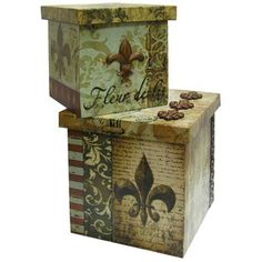 Fleur-De-Lis Square Lined Boxes | Shop Hobby Lobby