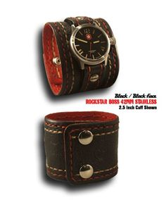 Black Rockstar Boss Leather Cuff Watch with Black Stainless 42MM, Sapphire Lens, 10 ATM Watch