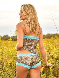 Mossy Oak Break Up Country Camo Boy Short Pantie / Aqua Lace from American Outdoor Woman