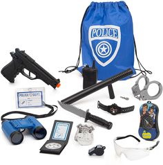 Police Role Play Kit - 14 Piece - Cop Toy Set - Gun Badge Handcuffs Binoculars - Policeman Accessories Swat Team - Detective Gear For Dress Up and Kids Costumes - Officer Bag for Halloween Included Top Toys For Boys, Toy Cars For Kids, Kids Toys, Kids Police, Kids Army, Arma Nerf, Poupées Our Generation, Minnie Mouse Toys, Nerf Toys