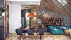Interior. Astounding Home Industrial Design Ideas. Pretty Home Industrial Design Ideas features Brick Wall and Blue Colored Sofa With Chaise