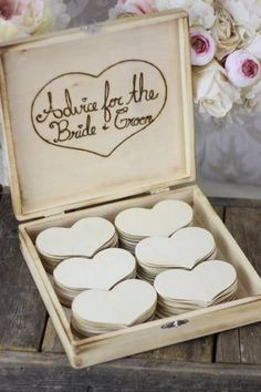 Collect your guests pearls of wisdom in a charming wooden box | See more here: Unique Wedding Guest Book Ideas {Trendy Tuesday} | Confetti Daydreams ♥  ♥  ♥ LIKE US ON FB: www.facebook.com/confettidaydreams  ♥  ♥  ♥ #Wedding #WeddingTrends #GuestBook