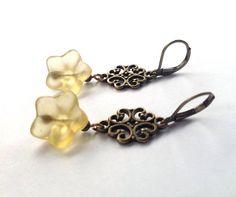 Bohemian Flower Earrings  Yellow Hippie Vintage by PhreshThreadz, $18.00