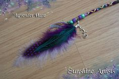 Lavender Haze feathered hair wrap, clip in braid, boho, hippy - purple, lilac, green, mint, grey gold - beads, feathers and lizard charm by SunshineArtists on Etsy