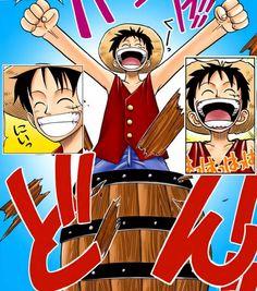 Primeira aparição do Luffy no seu próprio manga.. Nem acredito que ainda me lembro desta cena hahaha (Mangá Colorido) - One Piece