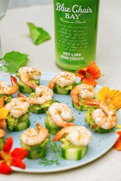 Seconds, thirds… who's counting? 😉🍤🥒 This key lime rum cream shrimp cucumber bite recipe is the perfect snack. It uses fresh ingredients such as avocado, cilantro, and green onion. Perfect for an outdoor treat! #bluechairbay #keylimerumcream #BCBHappyHour ⠀