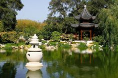 """Chinese Garden at the Huntington    The beautiful """"Pond of Reflected Greenery"""" in the Chinese themed """"Garden of Flowering Fragrance"""" -- at the Huntington in San Marino, California. The Pavillion of Three Friends is in the background."""