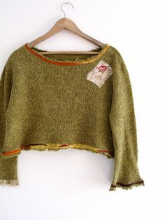 Tattered Cropped Sweater Eco Friendly Ethical Fashion by KheGreen,
