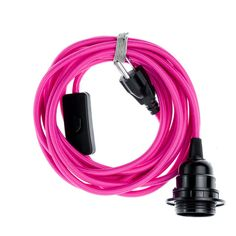 Color Cord Company - Pendant Light Cord (grounded plug) - Hot Pink