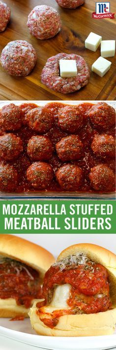 Meatball sliders get the all-star treatment with a twist here (and a twist there) from our Italian Blend Herb Grinder. When prepping, season directly into meatballs and sauce for zesty Italian flavor. Before taking a bite into the gooey mozzarella center, Meatball Sliders, Meatball Sandwiches, Slider Sandwiches, Mozzarella Stuffed Meatballs, Cheese Stuffed Meatballs, Slider Recipes, Comida Latina, Game Day Food, Beef Dishes