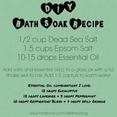 This Eucalyptus Bath & Foot Soak is so easy to make in just a few minutes! Foot Soak Recipe, Essential Oil Combinations, Essential Oils For Add, Glass Jars, Scrubs, Wellness, Bath, My Love, Recipes