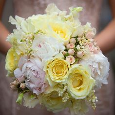 Wedding Bouquet Bridal Yellow Peony And Orange Rose With Peach Roses White Daisies Silk Flower