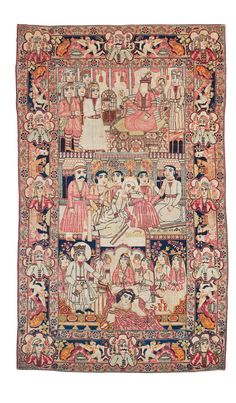 Persian Kerman Laver rug, three different figural scenes :  at the top, a prophet-like figure with entourage on a throne in a palace interior. The mid section, has a mythological scene. Below is a palace feast with a ruler and beautiful women. A dark blue main border with animals and humans in a landscape as well as cartouches with portraits.