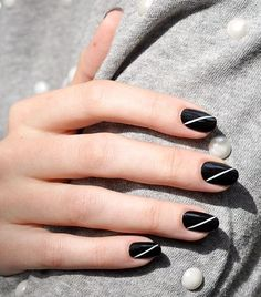 We're all about a cool minimalistic esthetic. Play up a plain black nail with a thin white line that goes diagonally across, like this one from Paintbox.