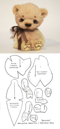 Teddy bear pattern by jill Stuffed Animal Patterns, Stuffed Animals, Doll Patterns, Sewing Patterns, Diy Teddy Bear, Teddy Bears, Sewing Crafts, Sewing Projects, Plush Pattern
