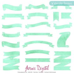 Mint Watercolor Ribbon Banners by Avenie Digital on @creativemarket
