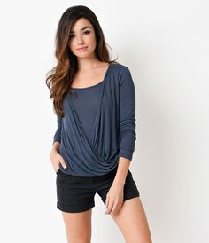 Dark Blue Long Sleeve Knit Faux Wrap Top