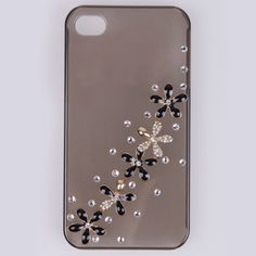 Luxury Bling Enamel Crystal daisy 3D Cell Phone Case Cover For Apple iphone4 4s