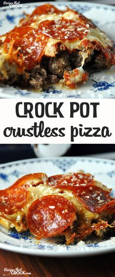 This Low Carb slow cooker Crustless Pizza is delicious and simple to make! Add this to your slowcooker recipes!